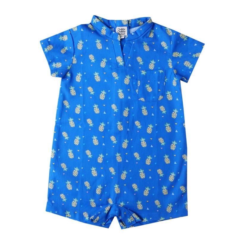 Baby Boy V Neck romper - Wang Pineapple - Blue