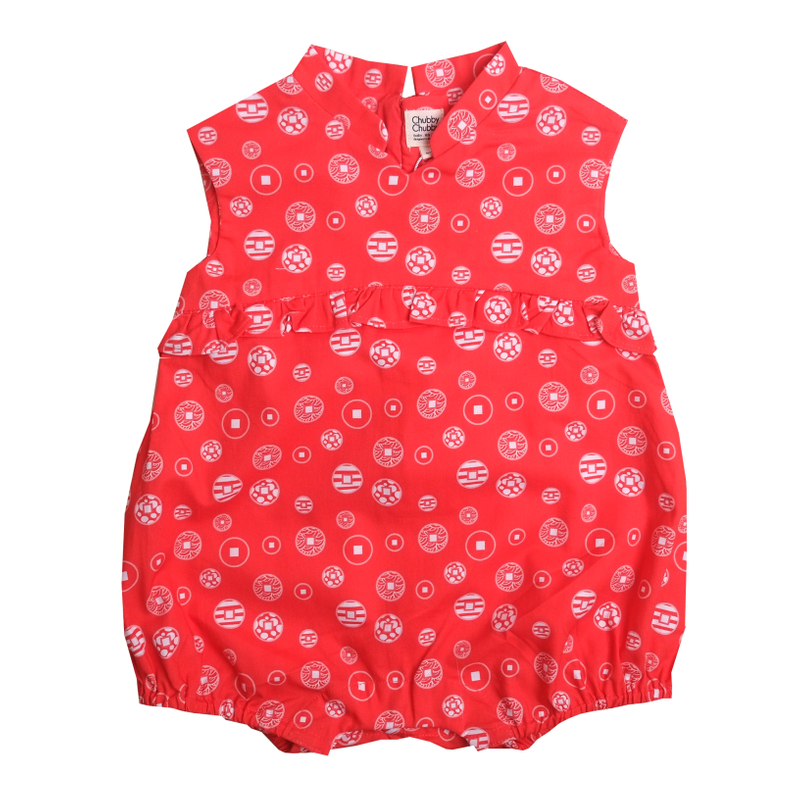 Baby Girl's V Romper  - Fortune Coins Red