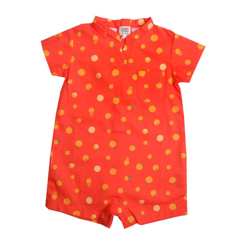 Baby Boy V Neck romper - Ji- Oranges