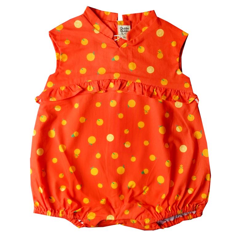 Baby Girl's V Romper  - Ji- Oranges
