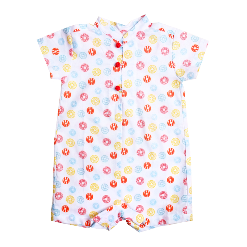 Baby Boy Knot Romper - Fortune Coins Multi-Color