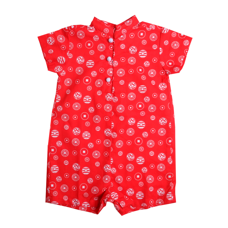 Baby Boy Knot Romper - Fortune Coins Red