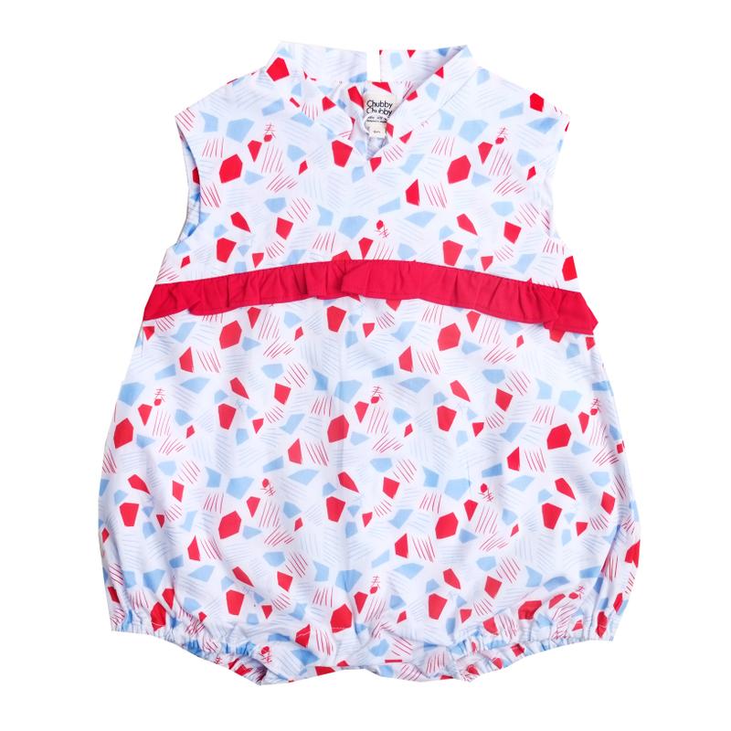 Baby Girl's V Romper  - Spring Gems White