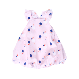 Flutter Cross Back Bubble Dress- Pink Confetti