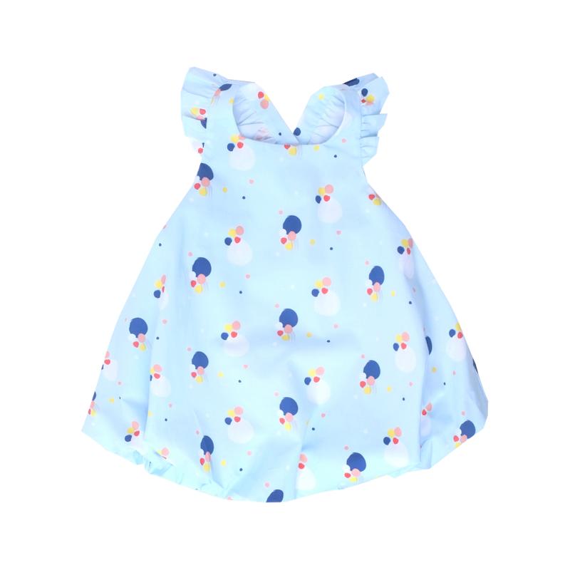 Flutter Cross Back Bubble Dress-Baby Blue Confetti