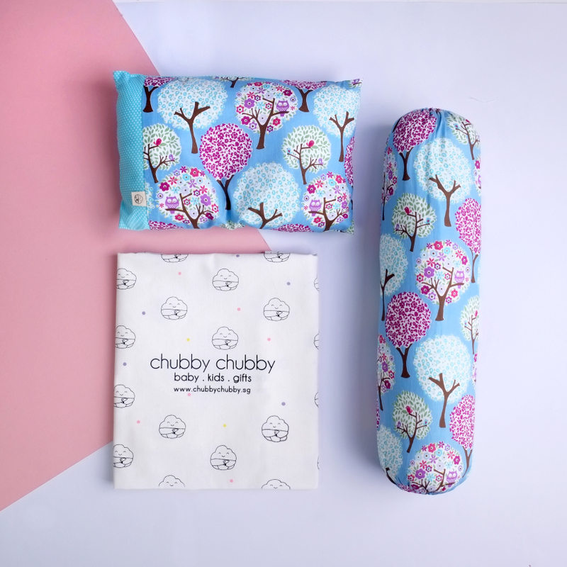 Two is better than one bundle- Pillow & Bolster Owl in the Forest Blue