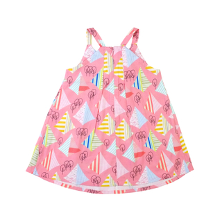 Pink Graphic Forest Pleat Dress