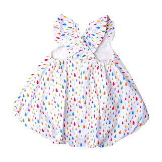 Flutter Cross Back Bubble Dress- Rainbow Raindrop