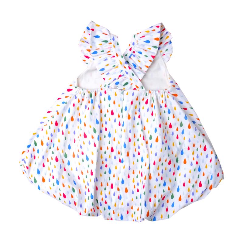 Flutter Cross Back Bubble Dress- Rainbow Raindrop