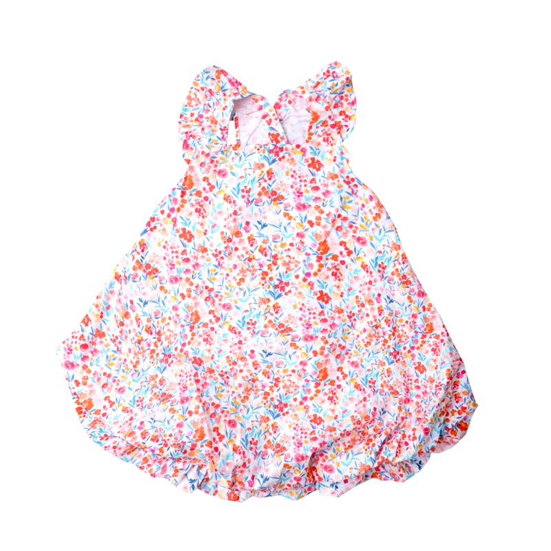 Flutter Cross Back Bubble Dress- Watercolor Flowers