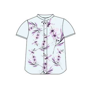 Tanglin Orchid Mint Boy Mandarin Shirt