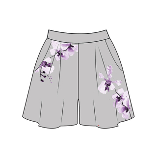 Tanglin Orchird Ladies Chikurin Shorts (Light Grey)