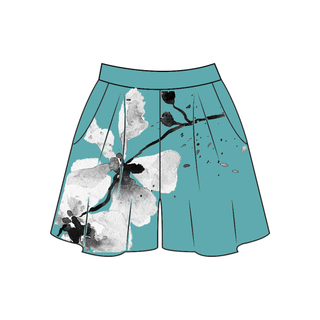 Tanglin Orchird Ladies Chikurin Shorts (Light Teal)