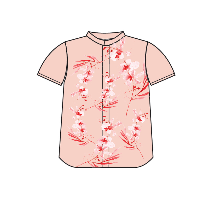Tanglin Orchid Salmon Boy Mandarin Shirt