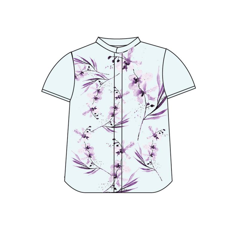 Tanglin Orchid Mint Boy Mandarin Shirt