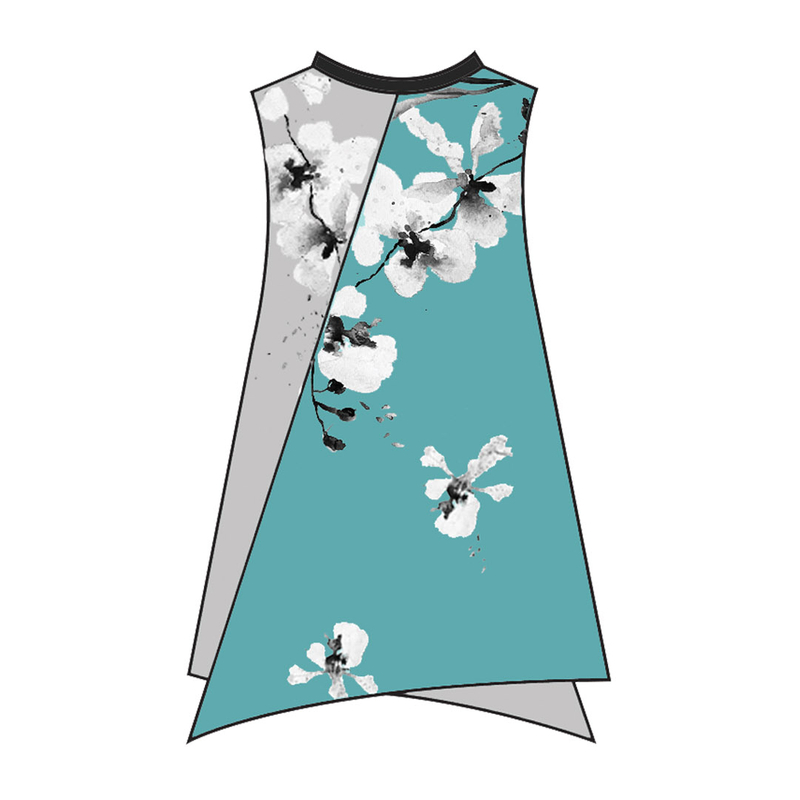 Tanglin Orchird Ladies Back to 1970s Top Sleeveless (Light Teal)