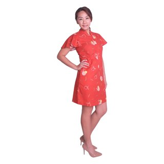 Mommy's Flutter Shirt Dress - Red Longevity Peaches
