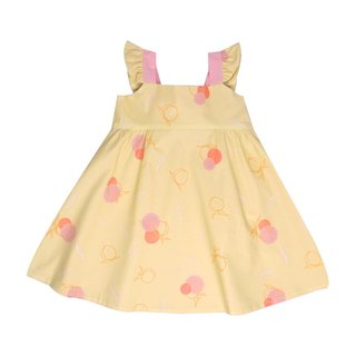 Girls' Reversible Sweet Bow Dress - Yellow Longevity Peaches