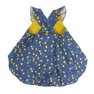 Bubble dress Flutter cross back - Festive Lemon Navy