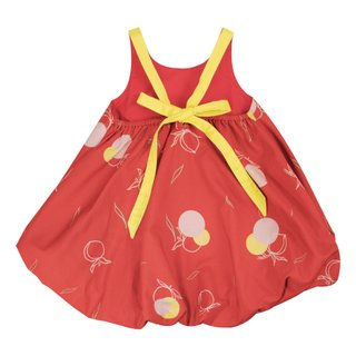 Girls' Bubble Tie Back Dress - Red Longevity Peaches