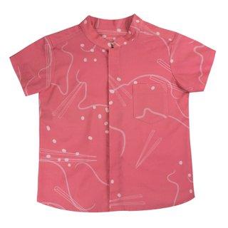 Boy's Mandarin Shirt - Pink Chopsticks