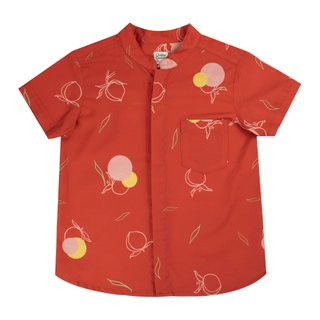 Boy's Mandarin Shirt - Red Longevity Peaches