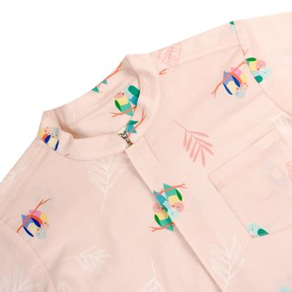 Boy's Mandarin Shirt - Pink Lovebirds