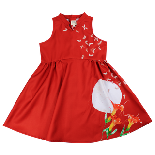 Girl's Halter Cheongsam - Butterflies Dreams Red