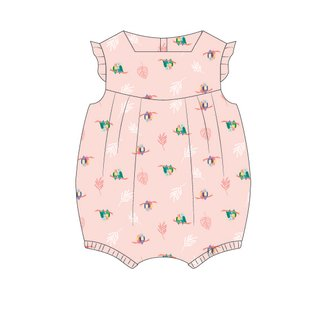 Baby Girl's V Romper - Pink Love Birds Mini