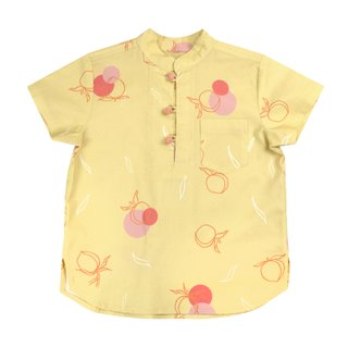Boy's Knot Shirt - Yellow Longevity Peaches