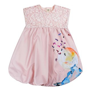 Girl's Bubble Lace Dress - TGE Pink