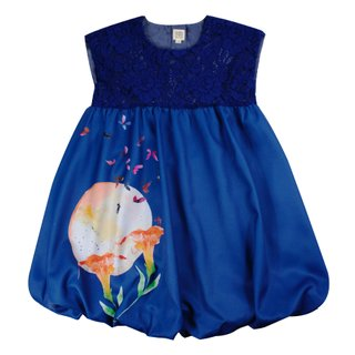 Girl's Bubble Lace Dress - Midnight Blue