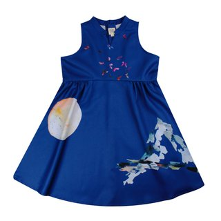 Girl's Halter Cheongsam - Butterflies Dreams Blue