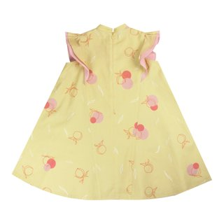 Flutter Flare Cheongsam - Yellow Longevity Peaches