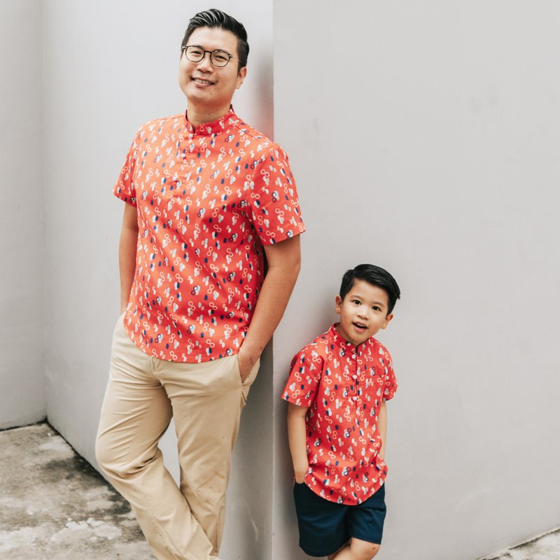 Boy's Knot Shirt - Red Infinity Huat