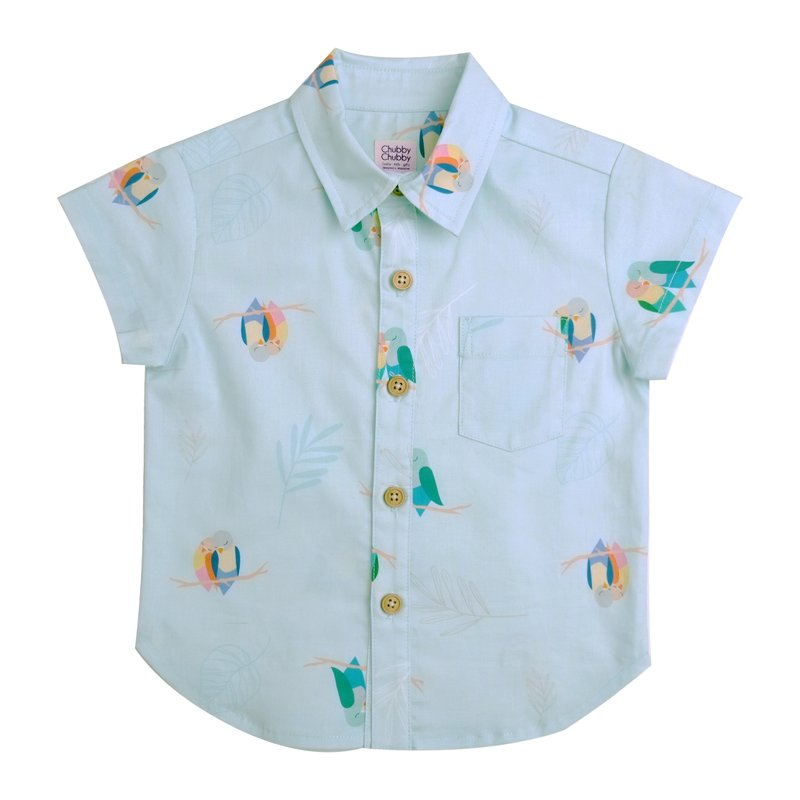Boy's Shirt - Mint Lovebirds
