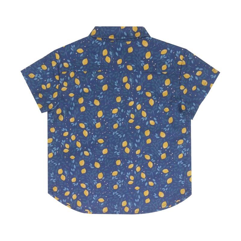 Boys Shirt - Festive Lemon Navy