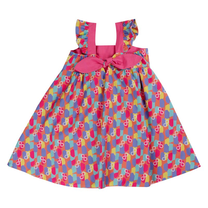 Girls' Reversible Sweet Bow Dress - Colorful Infinity Huat