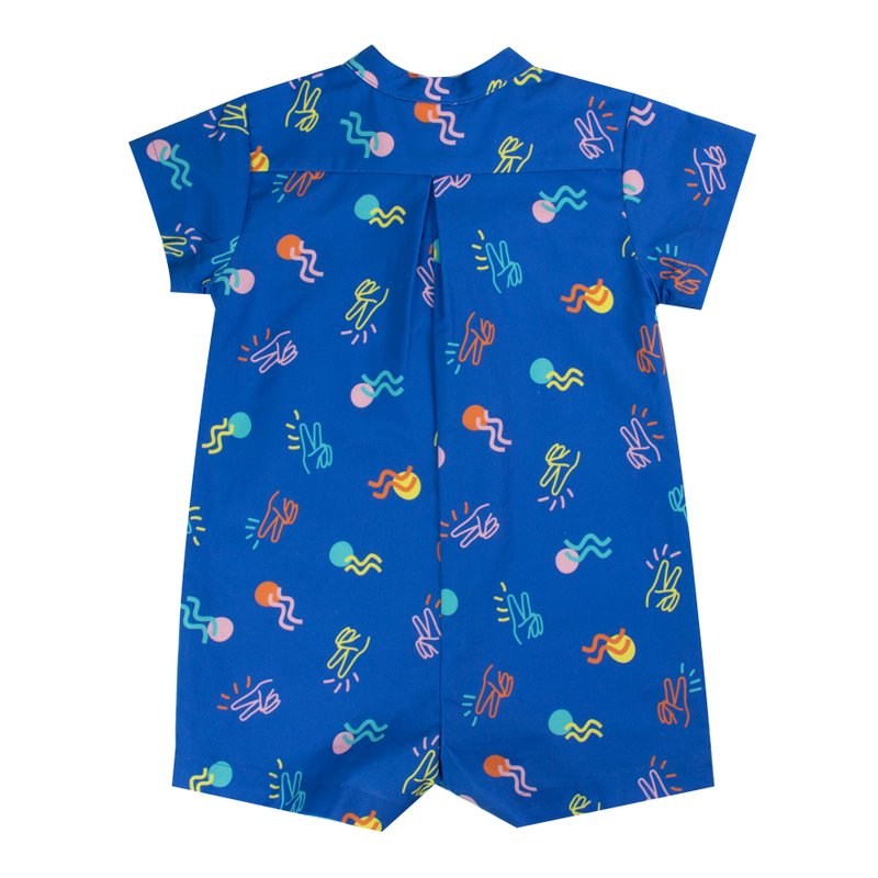 Baby Boy Knot Romper - Blue Victory Yay