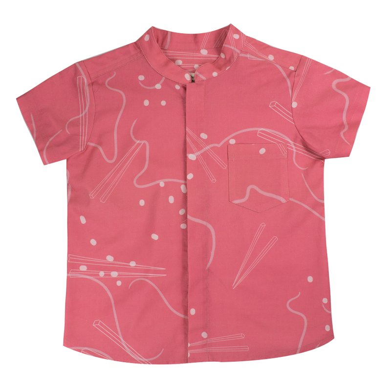 Boy's Mandarin Shirt - Pink Chopsticks