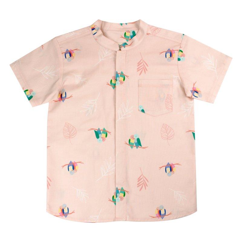 Boy's Mandarin Shirt - Pink Lovebirds