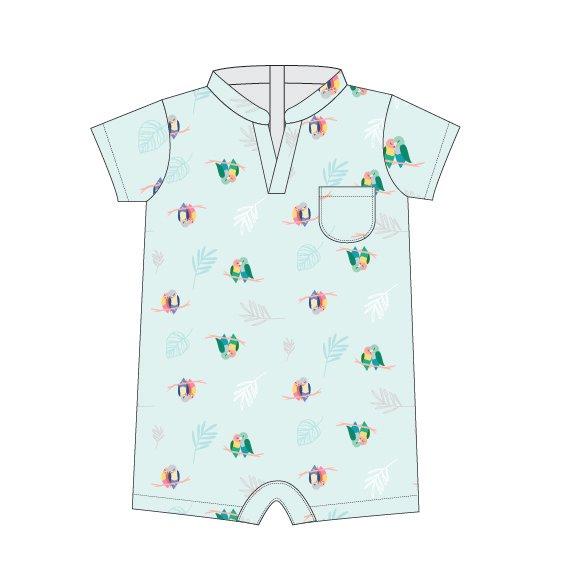 Baby Boy's V Romper -Mint Lovebirds