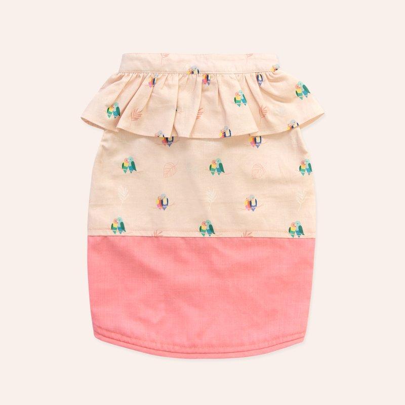 Pets Pink Lovebirds Mini Ruffles Dress Shirt