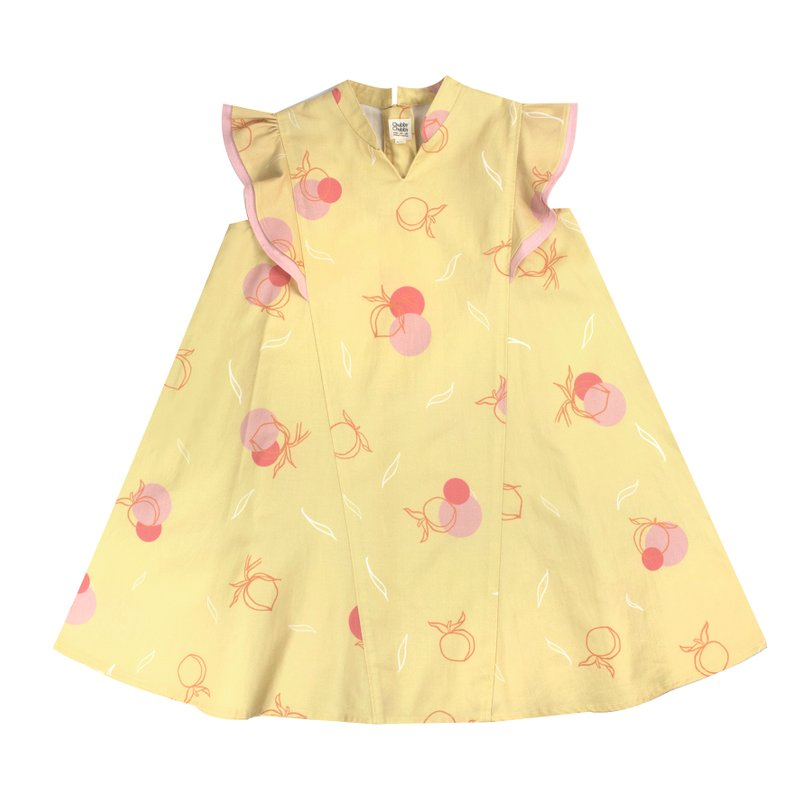 Flutter Flare Cheongsam - Yellow Longevity Peaches