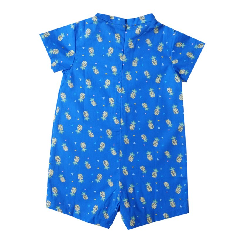 Baby Boy V Neck romper - Blue Pineapple