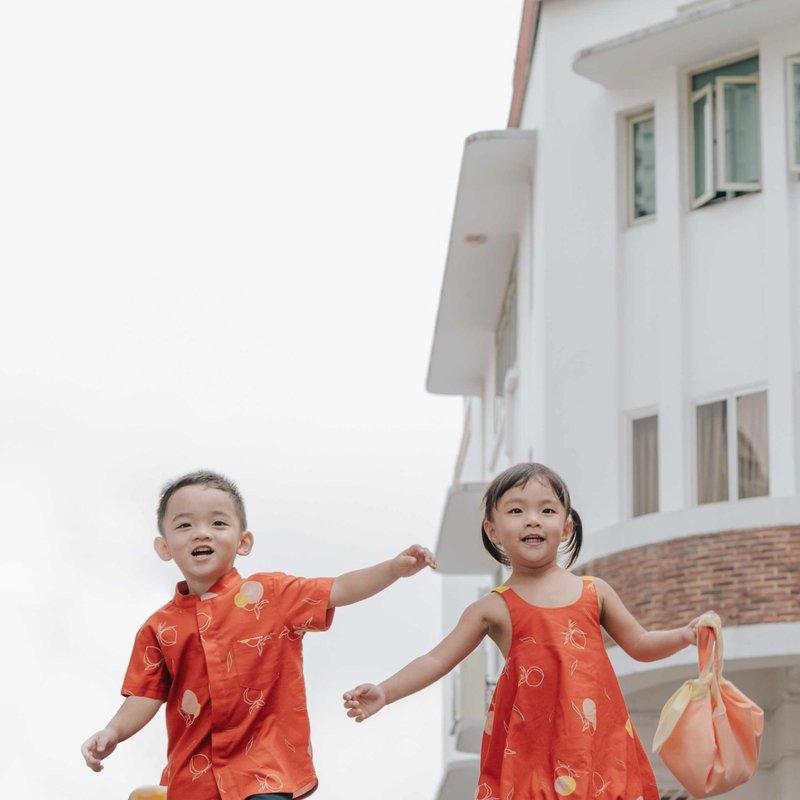 Boy's Mandarin Shirt - Red Longevity Peaches