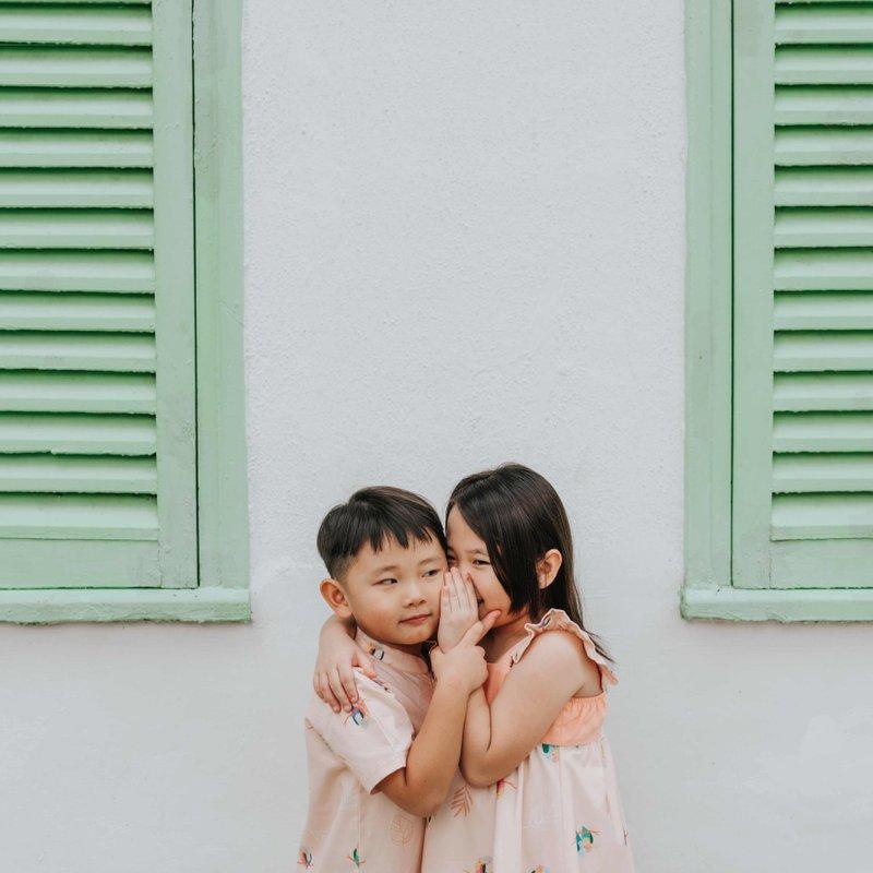 Girls' Sweet Bow  Dress - Pink Lovebirds