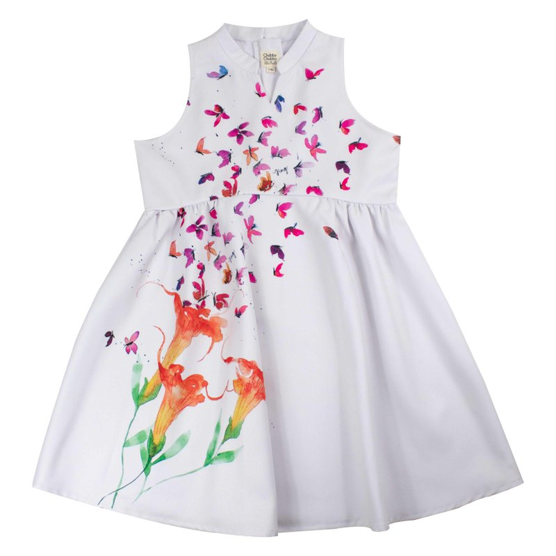 Girl's Halter Cheongsam - Butterflies Dreams White