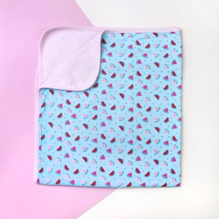 Jersey Baby Blanket- Teal Watermelons with Pink Solid