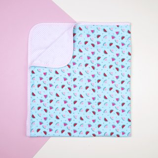 Jersey Baby Blanket- Teal Watermelons with Pink Polkadot